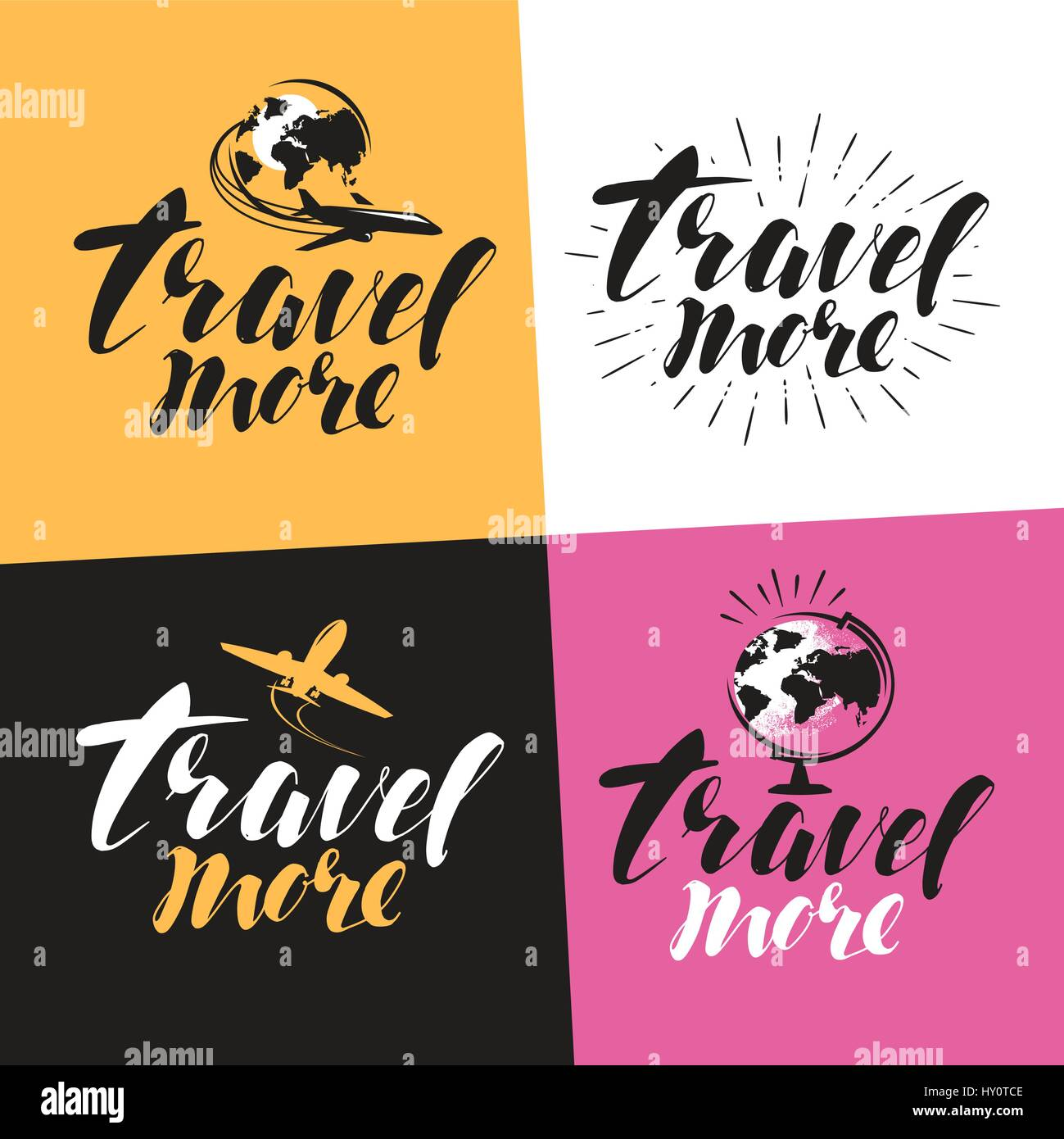 Travel more, label. Handwritten lettering, calligraphy vector illustration - Stock Image