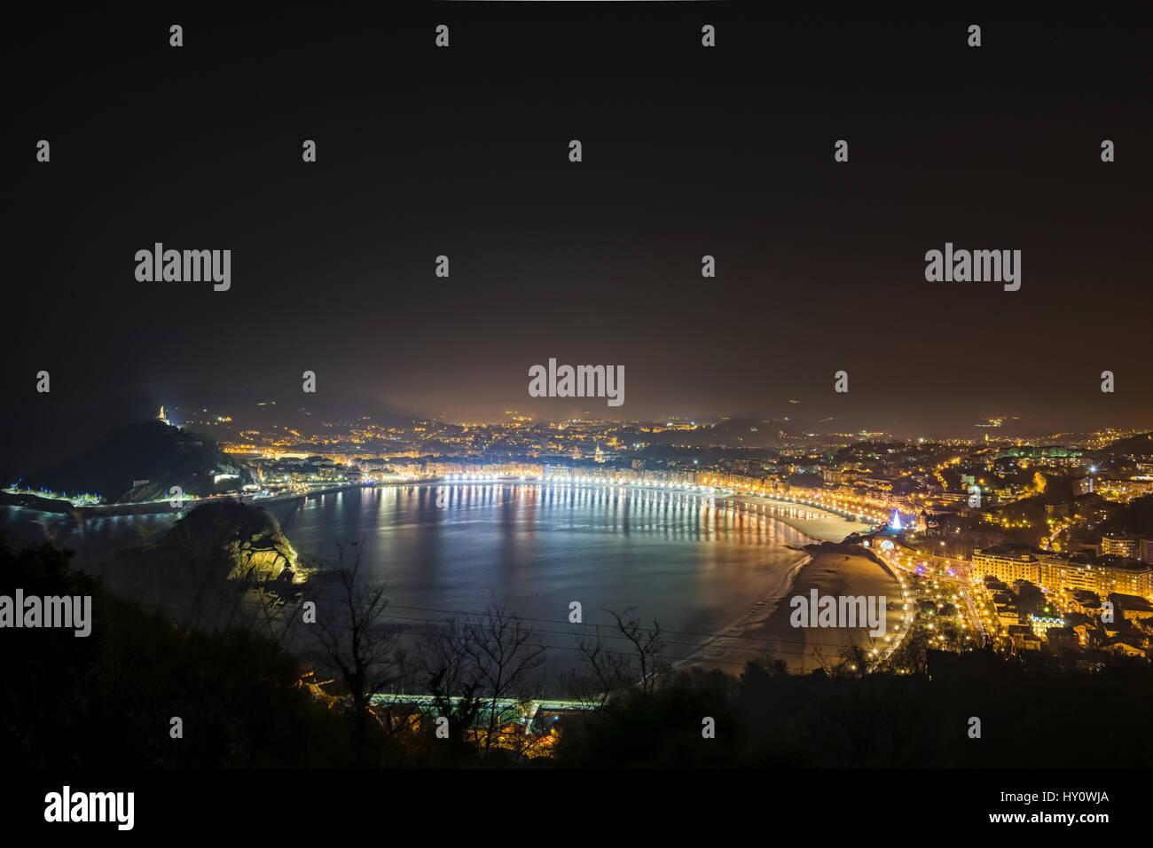 Donostia- San Sebastian at Night, Spain - Stock Image