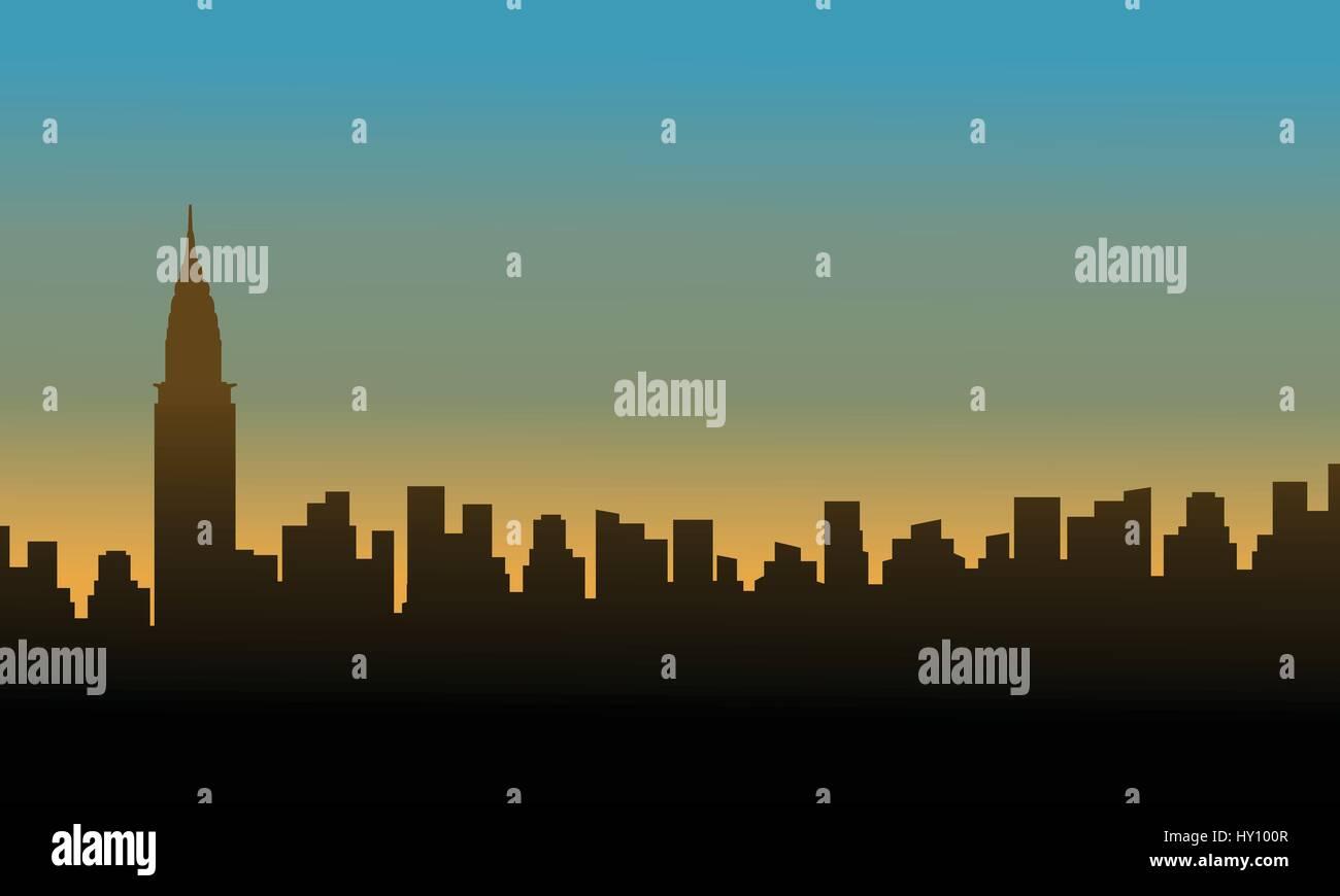 Silhouette chrysler building at sunset scenery vector illustration - Stock Vector