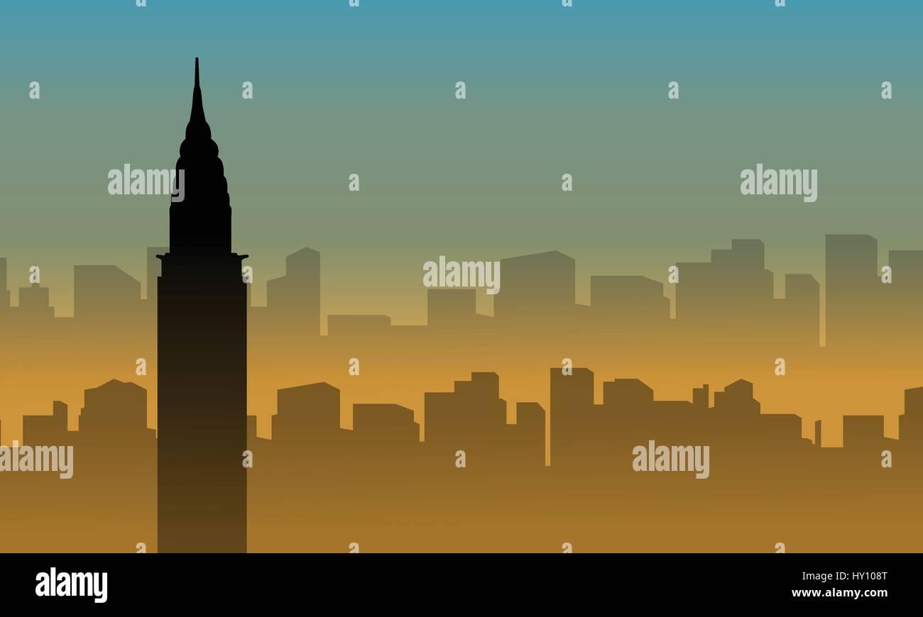 Silhouette of chrysler building scenery at sunset vector art - Stock Vector