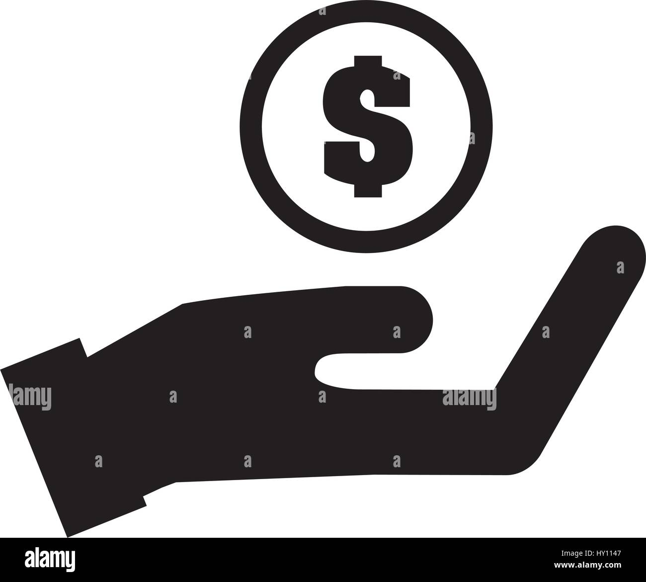 hand human with coin isolated icon - Stock Image