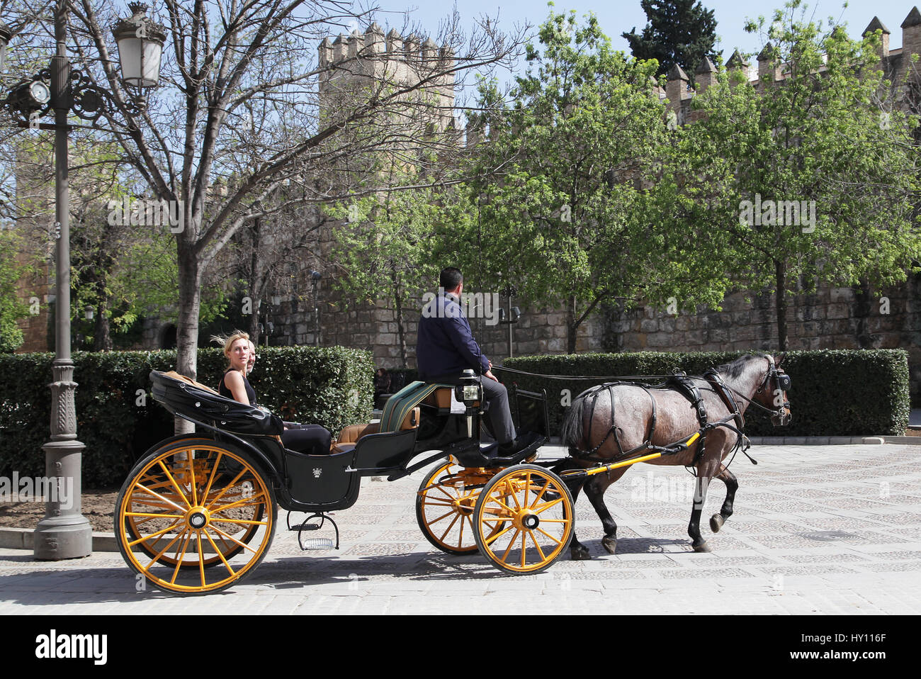 Horse drawn carriage tour.a very popular attraction in Seville.a great experience to get an overview and orientation - Stock Image