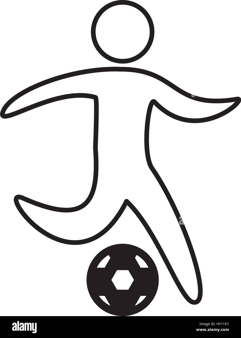 soccer player silhouette icon - Stock Image