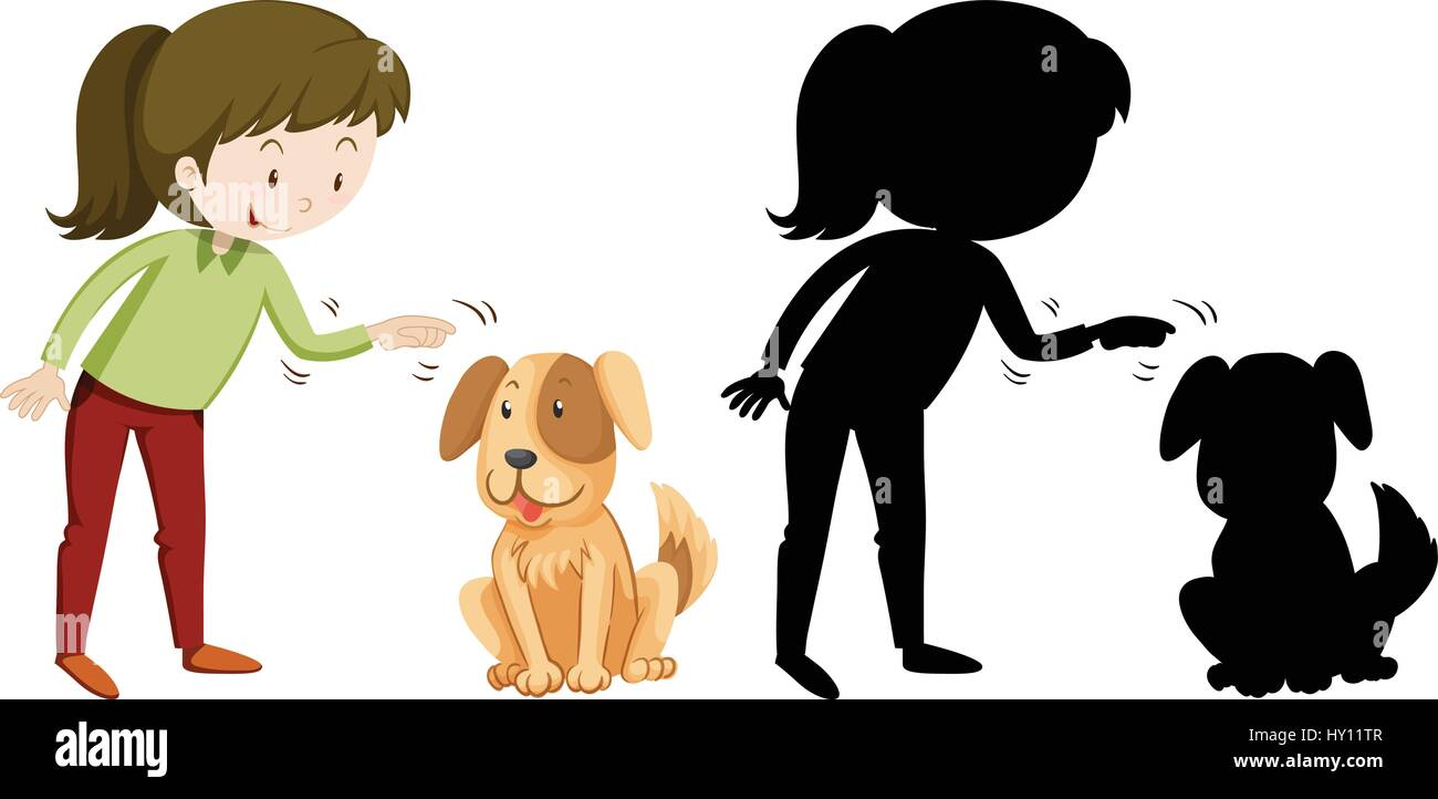 Girl and pet dog in silhouette and colored illustration - Stock Image