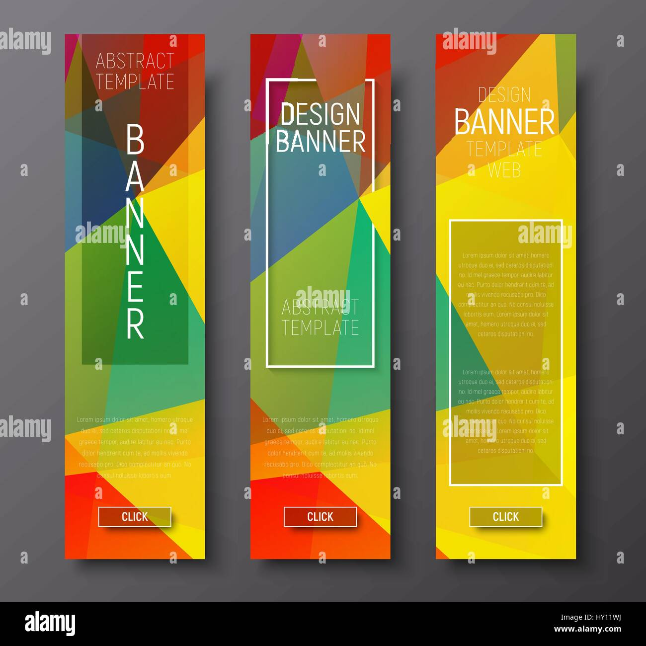 design vertical banners with polygonal multi colored background and