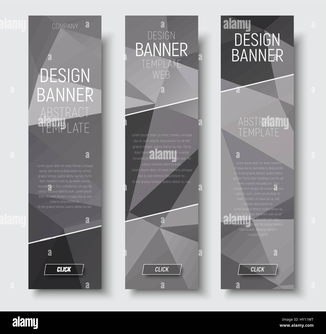 design of vertical web banners template abstract gray polygonal