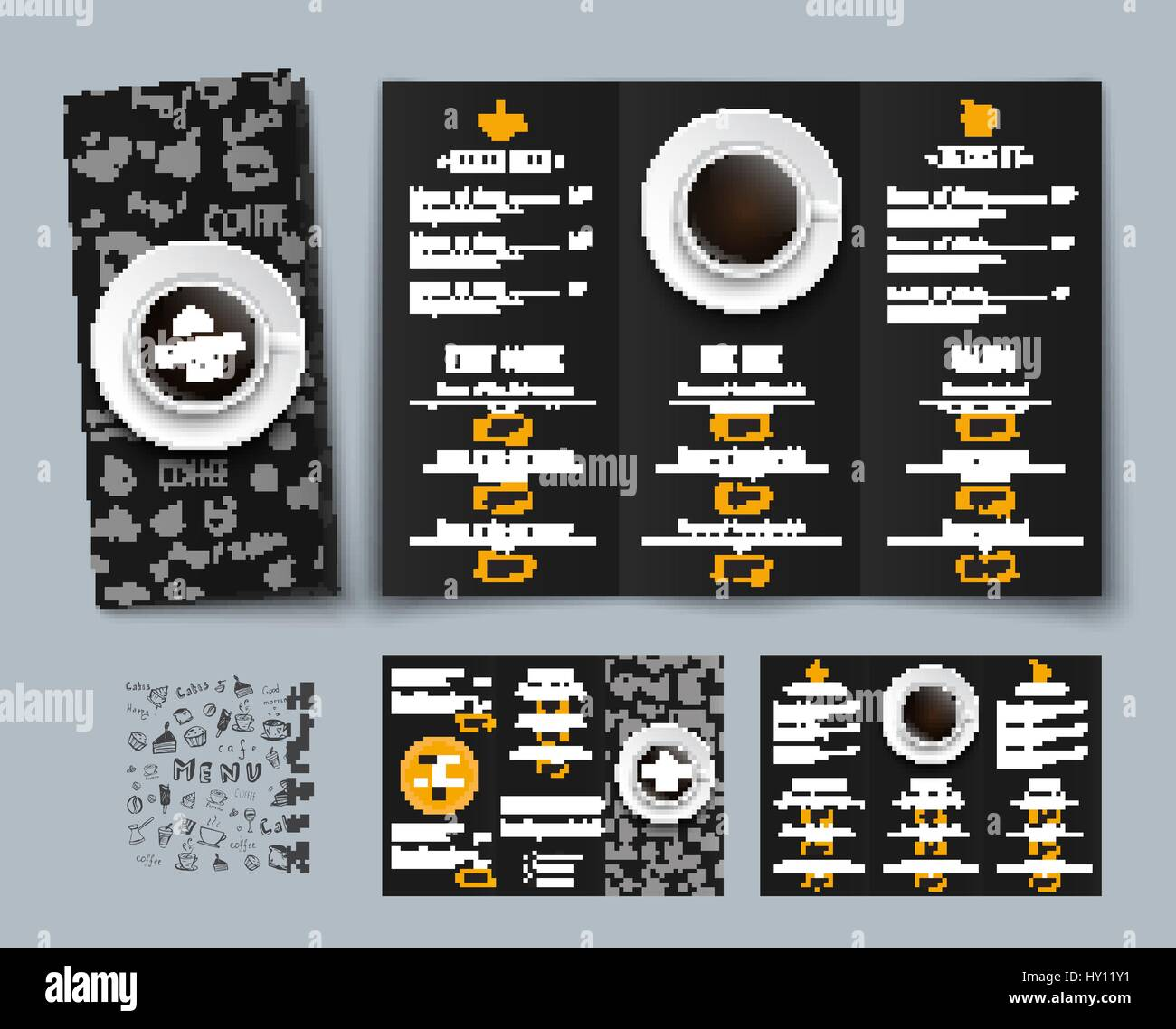 design of a triple black menu for cafes and restaurants templates