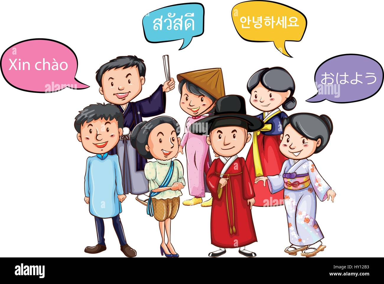 Different languages stock vector images alamy people greeting in different languages illustration stock vector m4hsunfo