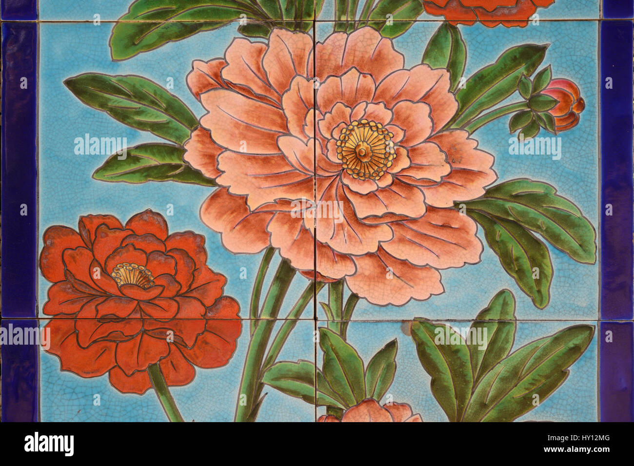 Historic Floral Wall Tiles with Carnation Flowers 1902 from a Parisian Hotel - Stock Image