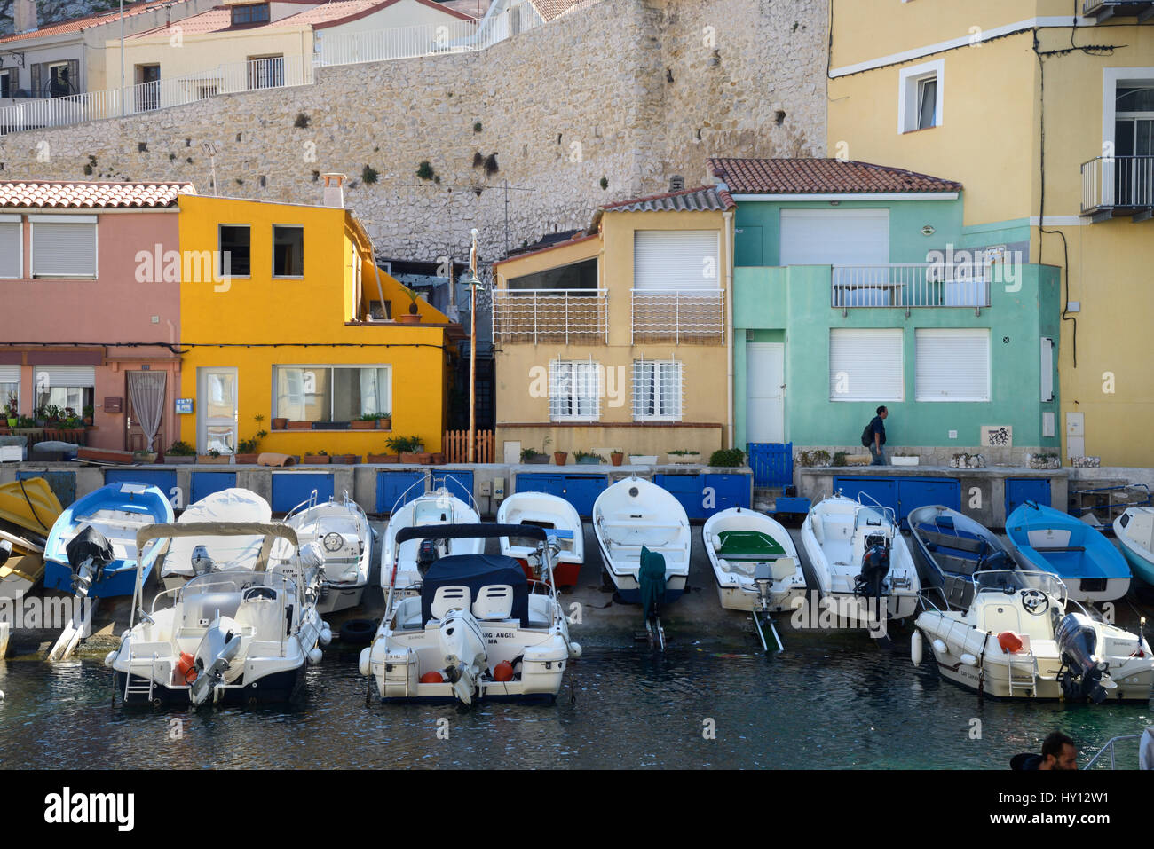 Fishing Port & Colourful Fishermen's Houses at the Vallon des Auffes on the Corniche Marseille or Marseilles France Stock Photo