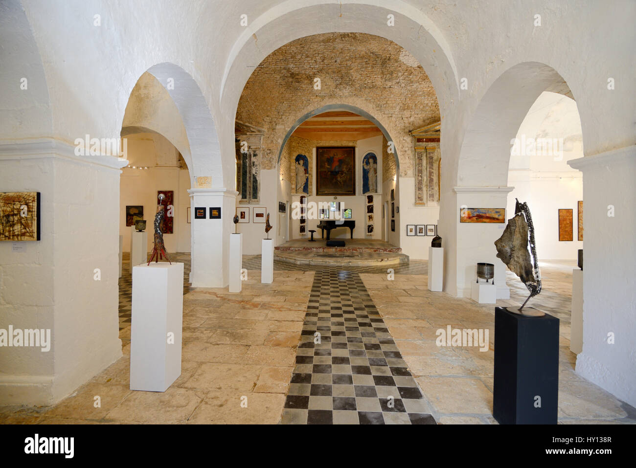 Eglise Haute An Histopric Church Converted into an Exhibition Hall and Art Gallery Banon Alpes-de-Haute-Provence - Stock Image