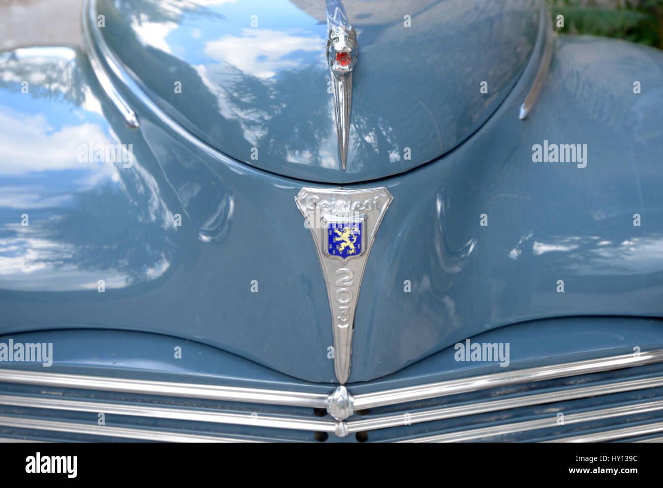 Car Bonnet or Hood of a French Veteran or Vintage Peugeot 203 Car or Automobile Produced in France Between 1948 - Stock Image