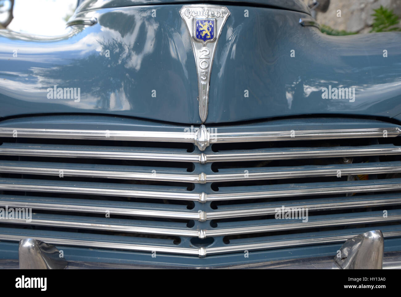 Radiator Grille or Grill of a French Veteran or Vintage Peugeot 203 Car or Automobile Produced in France Between - Stock Image