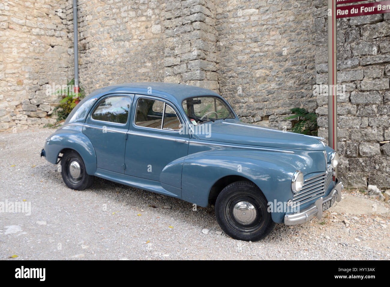 French Veteran or Vintage Peugeot 203 Car or Automobile Produced in France Between 1948 and 1960 - Stock Image