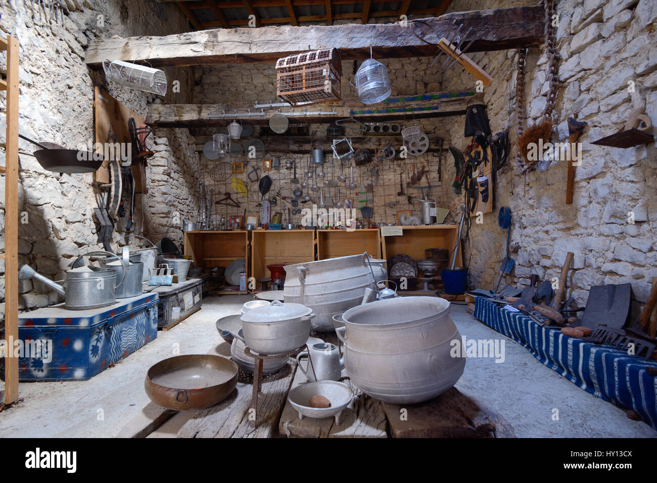 Forge Museum in the Old Smithy or Rural Museum with Display of Traditional Tools and Agricultural Implements Banon - Stock Image