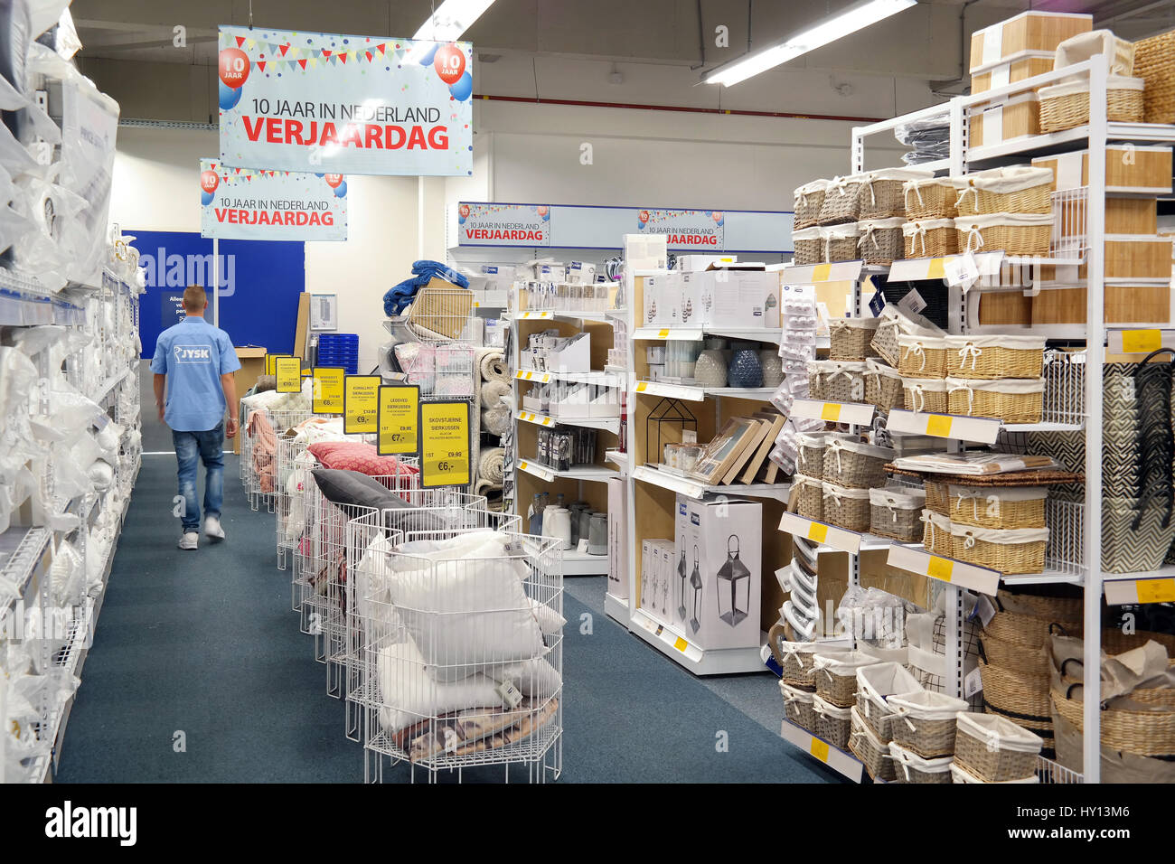 Interior of Jysk, a Danish retail chain - Stock Image