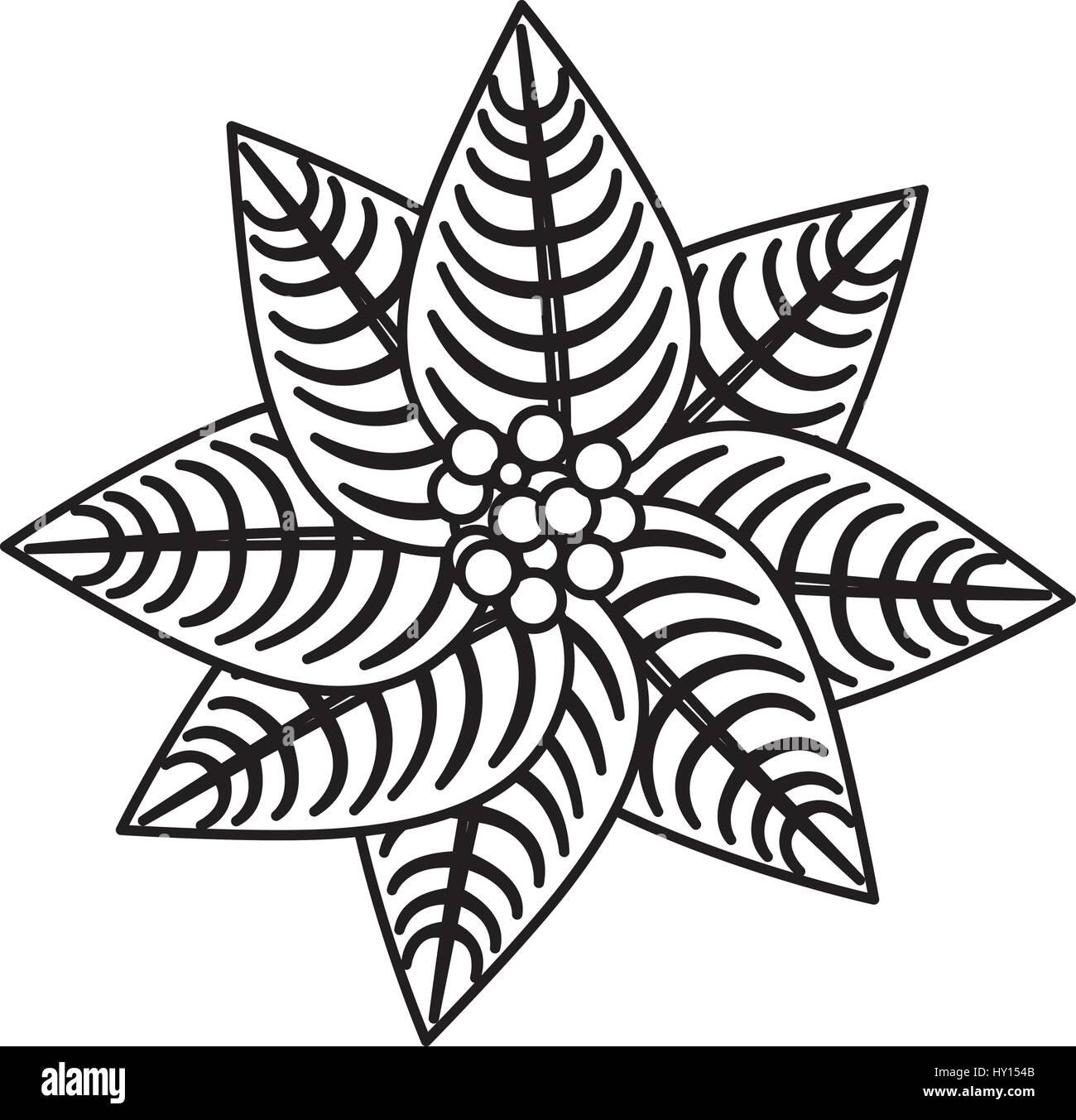 Silhouette Poinsettia Christmas Flowers Icon Design Stock Vector Image Art Alamy