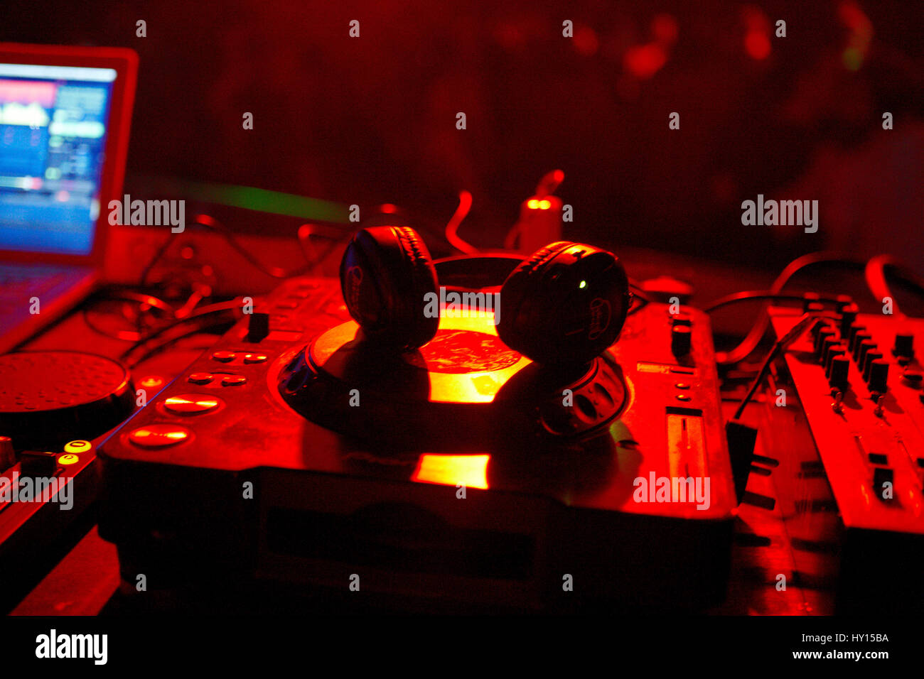Dj booth decks and headphones, SWN Silent Disco Festival, Cardiff - Stock Image