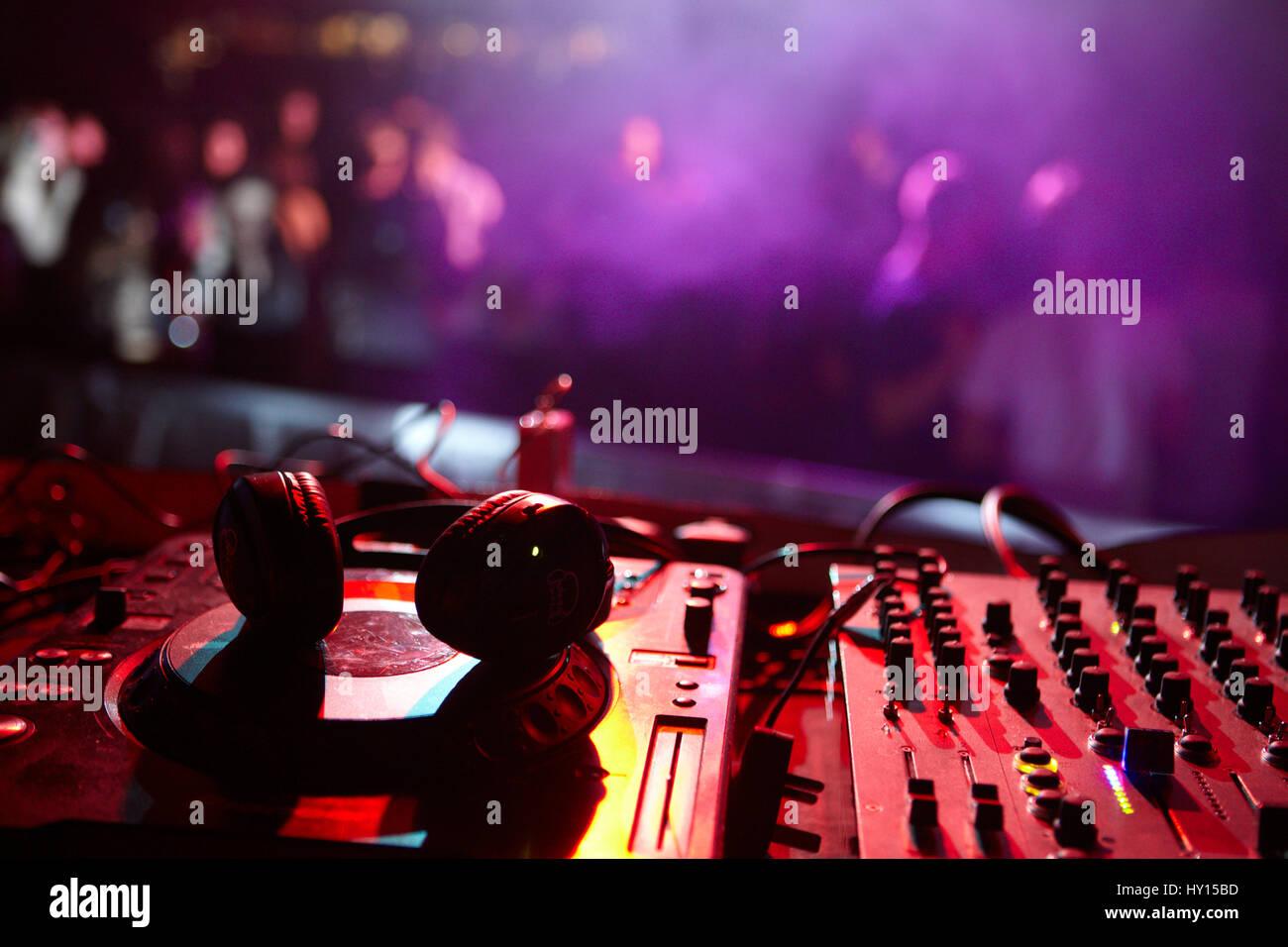 Dj booth decks and headphones, SWN Silent Disco Festival, Cardiff Stock Photo