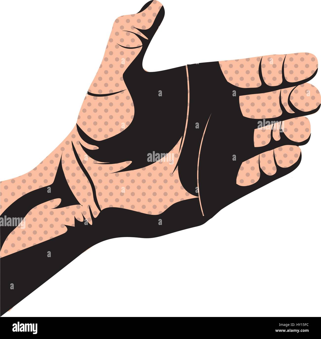 silhouette dotted skin color right hand holding something - Stock Vector