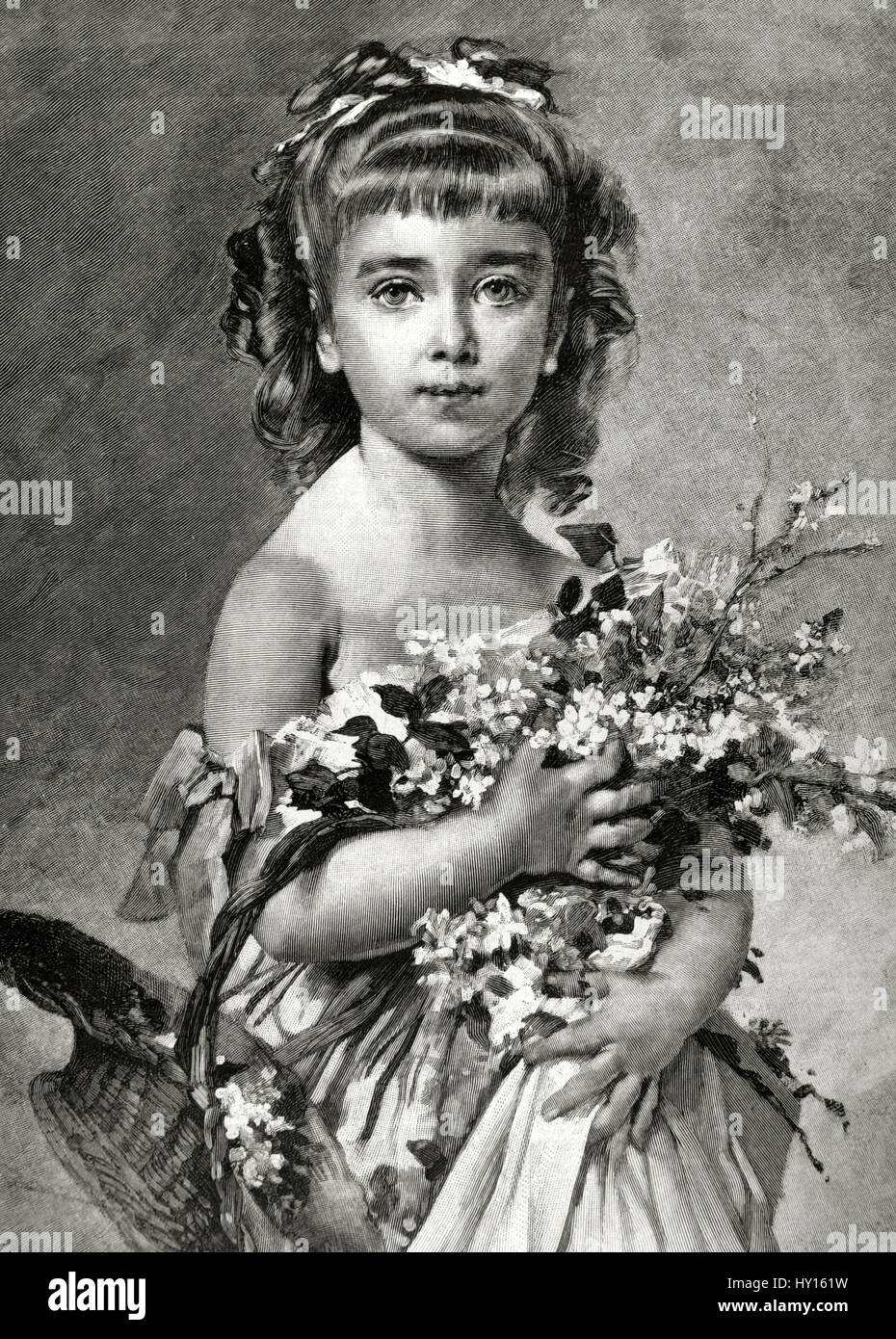 Charles Joshua Chaplin (1825-1891). French painter and printmaker, best known for his elegant portraits of young - Stock Image