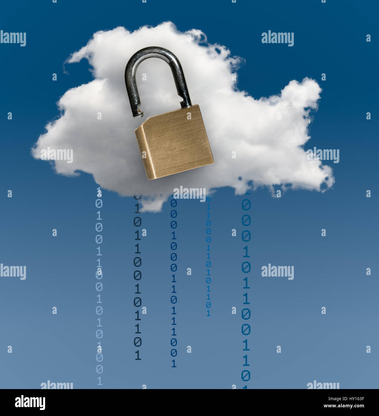 Concept image for cloud computing cyber crime security and secure online applications showing secure or insecure - Stock Image