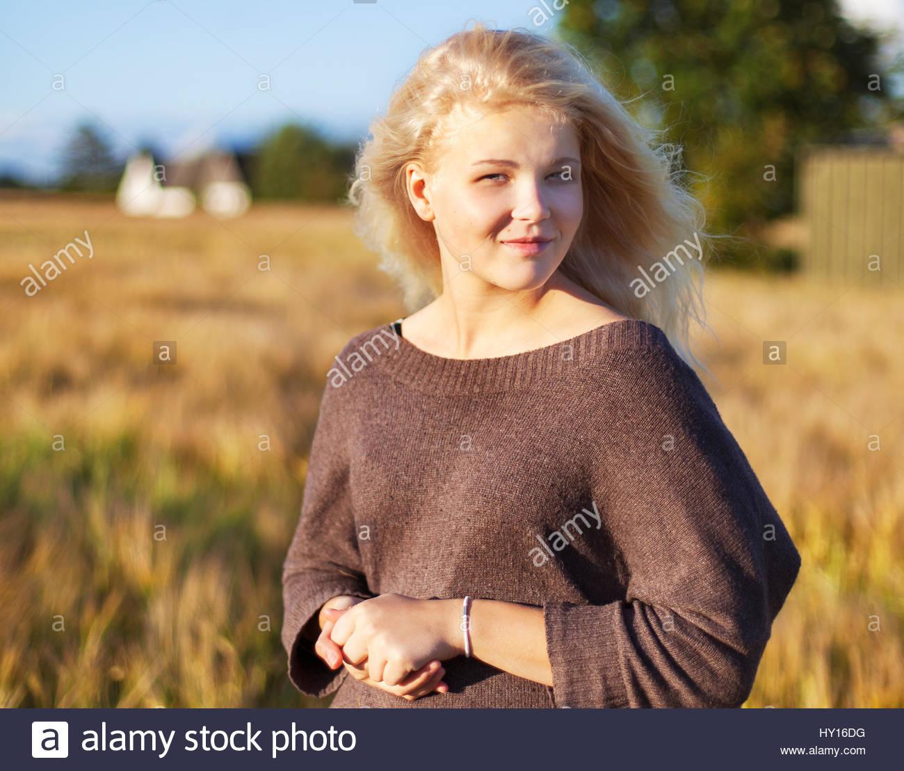 Denmark, Mon, Portrait of teenage girl (16-17) - Stock Image