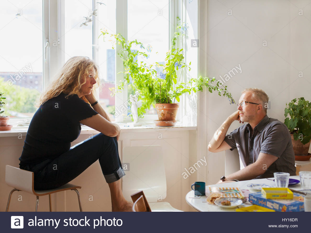 Denmark, Man and woman talking Stock Photo