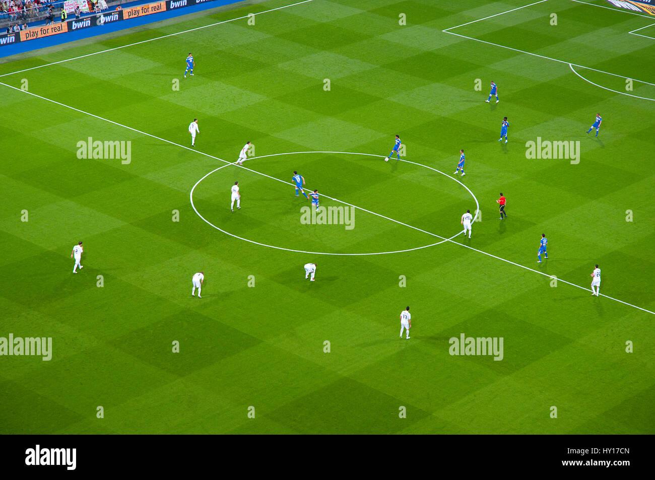 Real Madrid vs Getafe football match. Santiago Bernabeu stadium, Madrid, Spain. - Stock Image