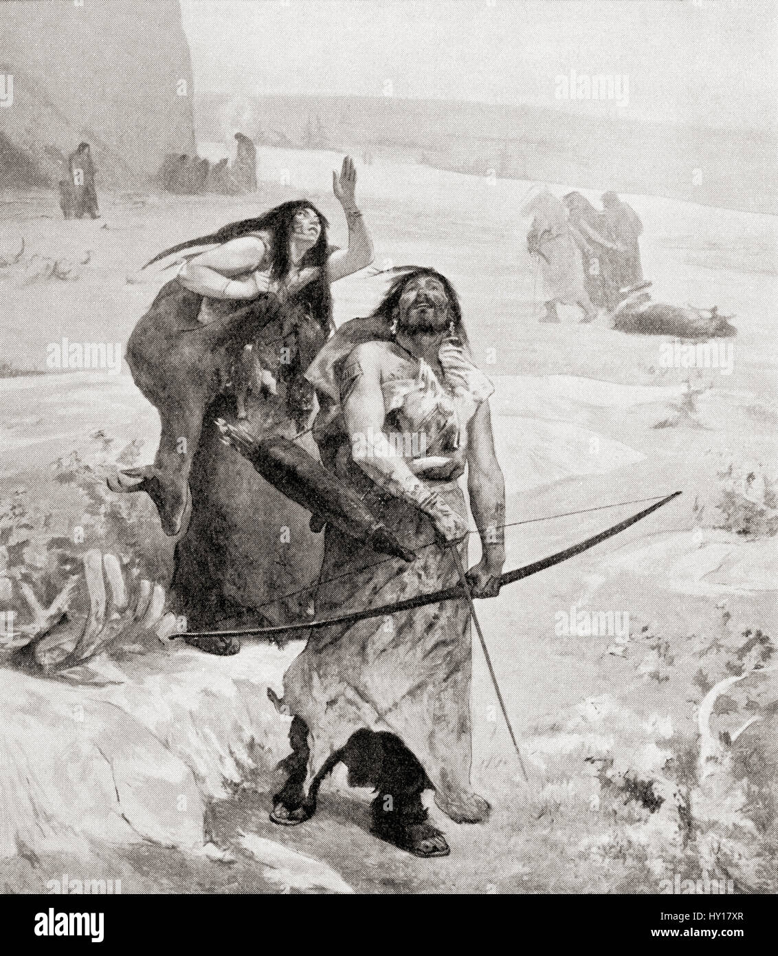 Neolithic man.  From Hutchinson's History of the Nations, published 1915. - Stock Image