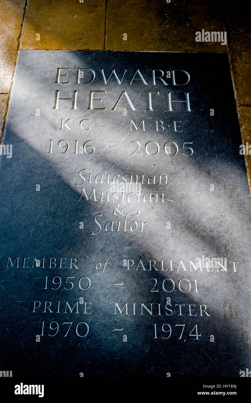 Grave with  memorial plaque for Edward Heath in Salisbury Cathedral in Wiltshire, UK. Stock Photo