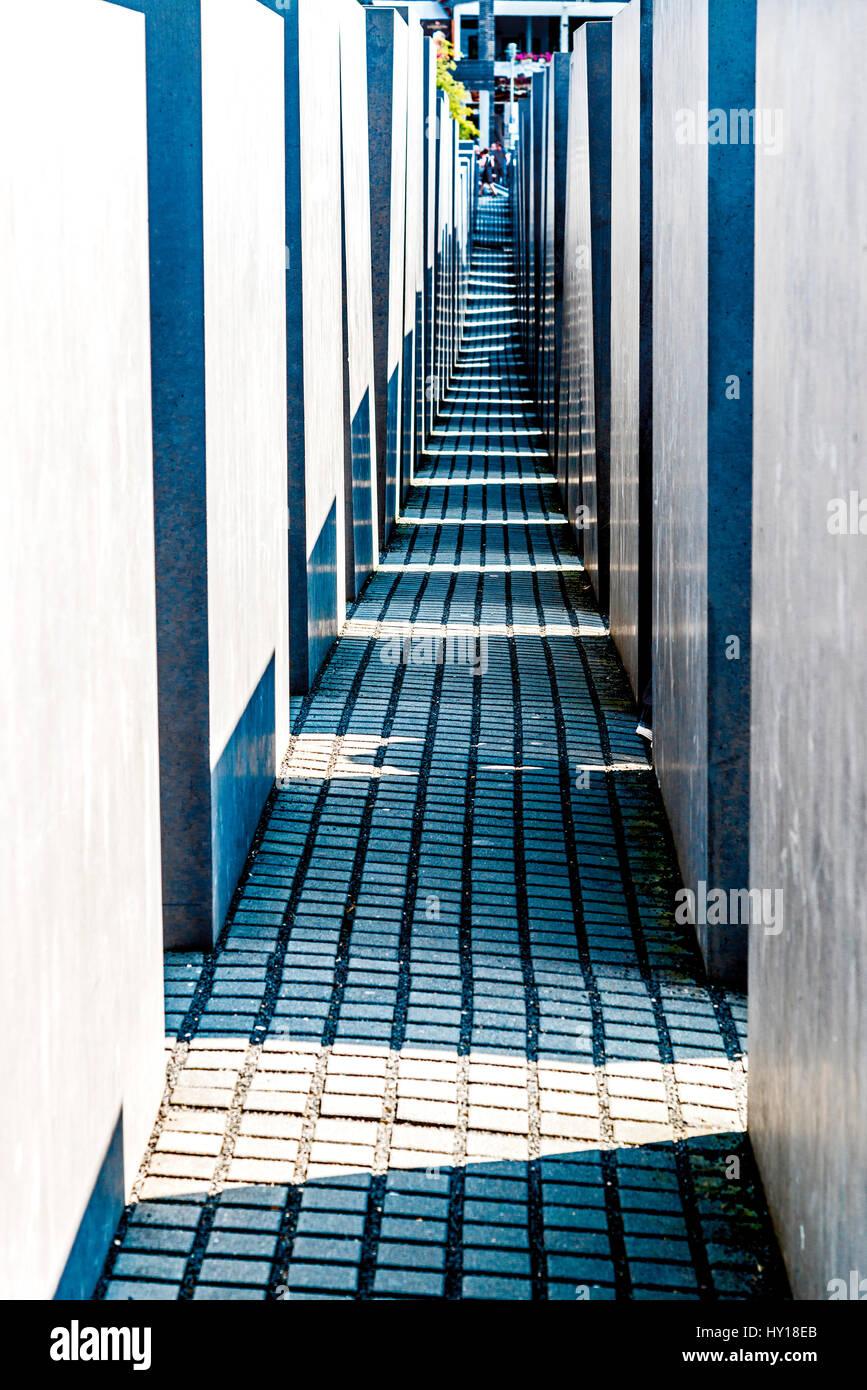 Berlin, Holocast Memorial; Berlin, Gedenkstaette für die ermordeten Juden - Stock Image