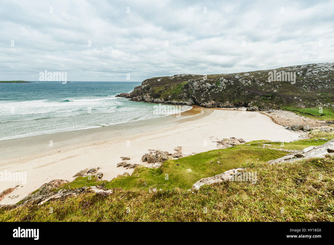 White Sands of Durness Beach in Northern Scotland - Stock Image