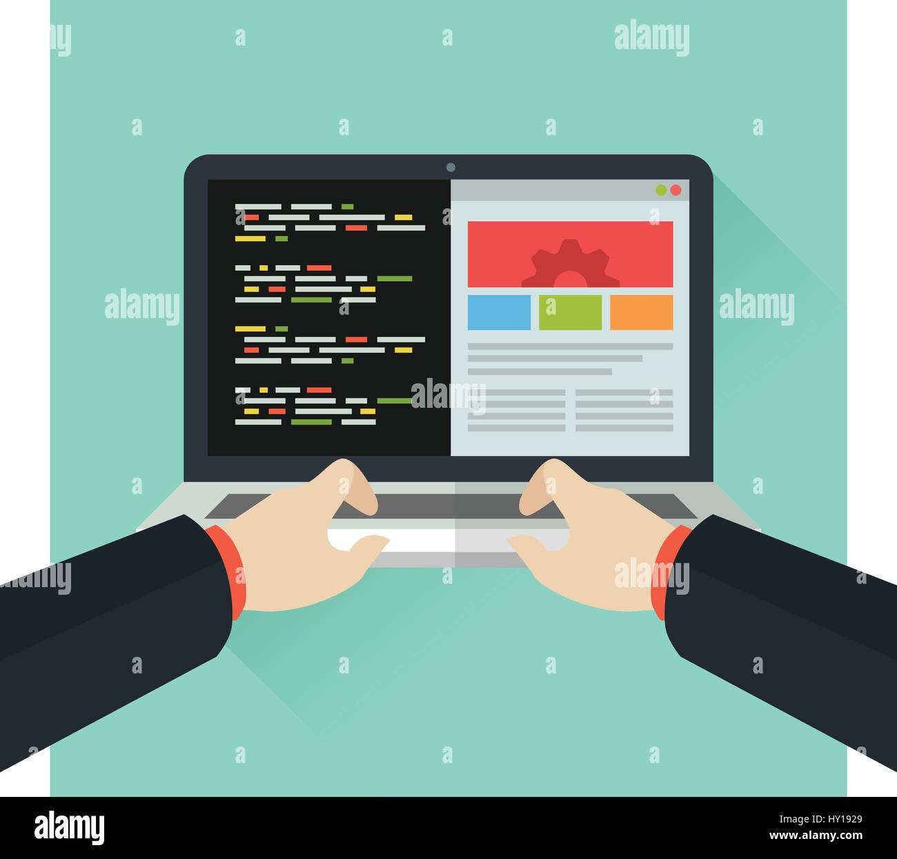 Coding font of Laptop, Flat vector illustration - Stock Image