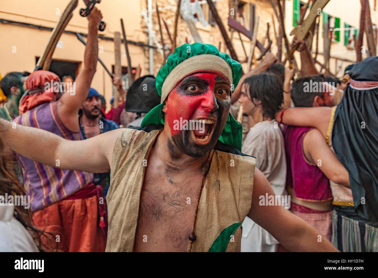 Pollenca. Moors battle against the Christians. Festival Annual. - Stock Image