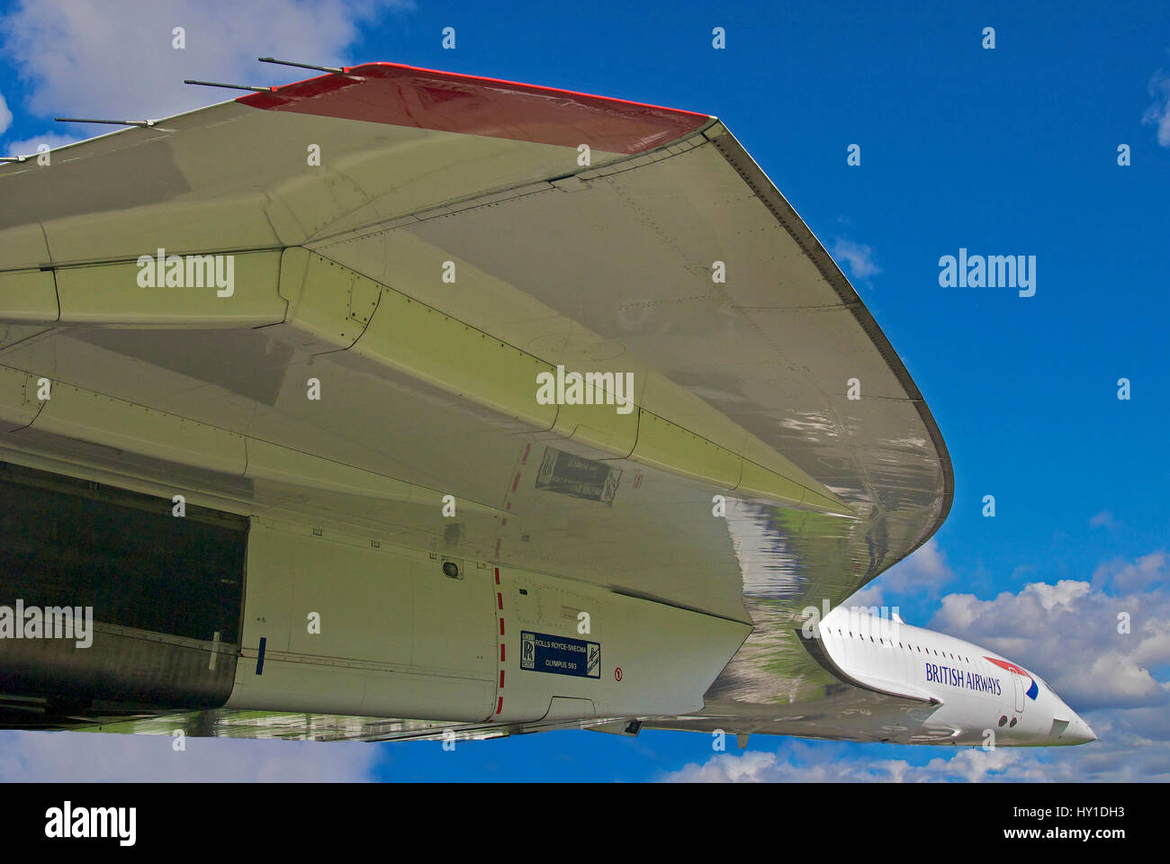 Airplane aeroplane jet plane  Concorde at it final home at Manchester airport before being moved indoors. supersonic - Stock Image