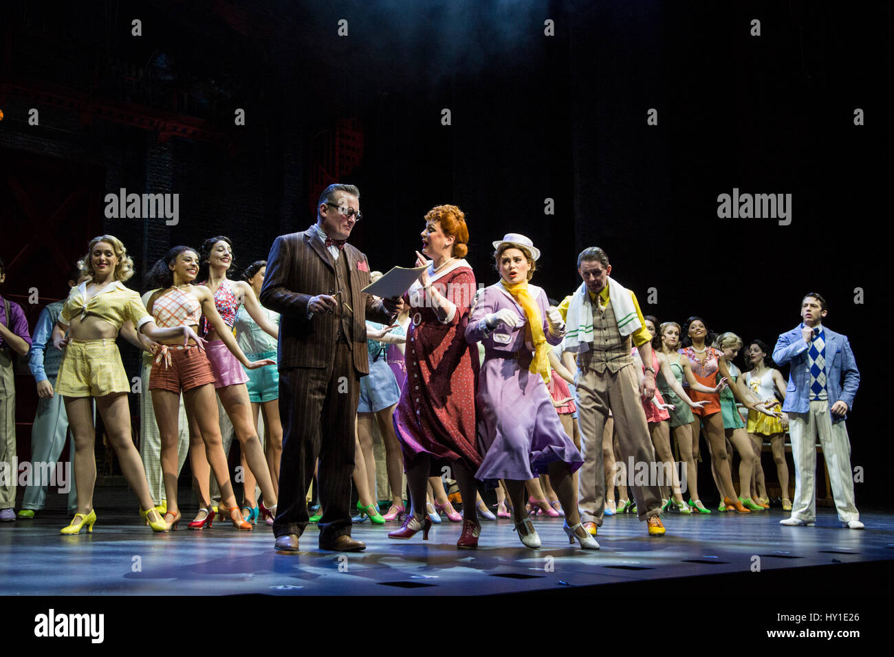 Photocall for the musical 42nd Street at the Theatre Royal Drury Lane. The musical features a score by Harry Warren - Stock Image