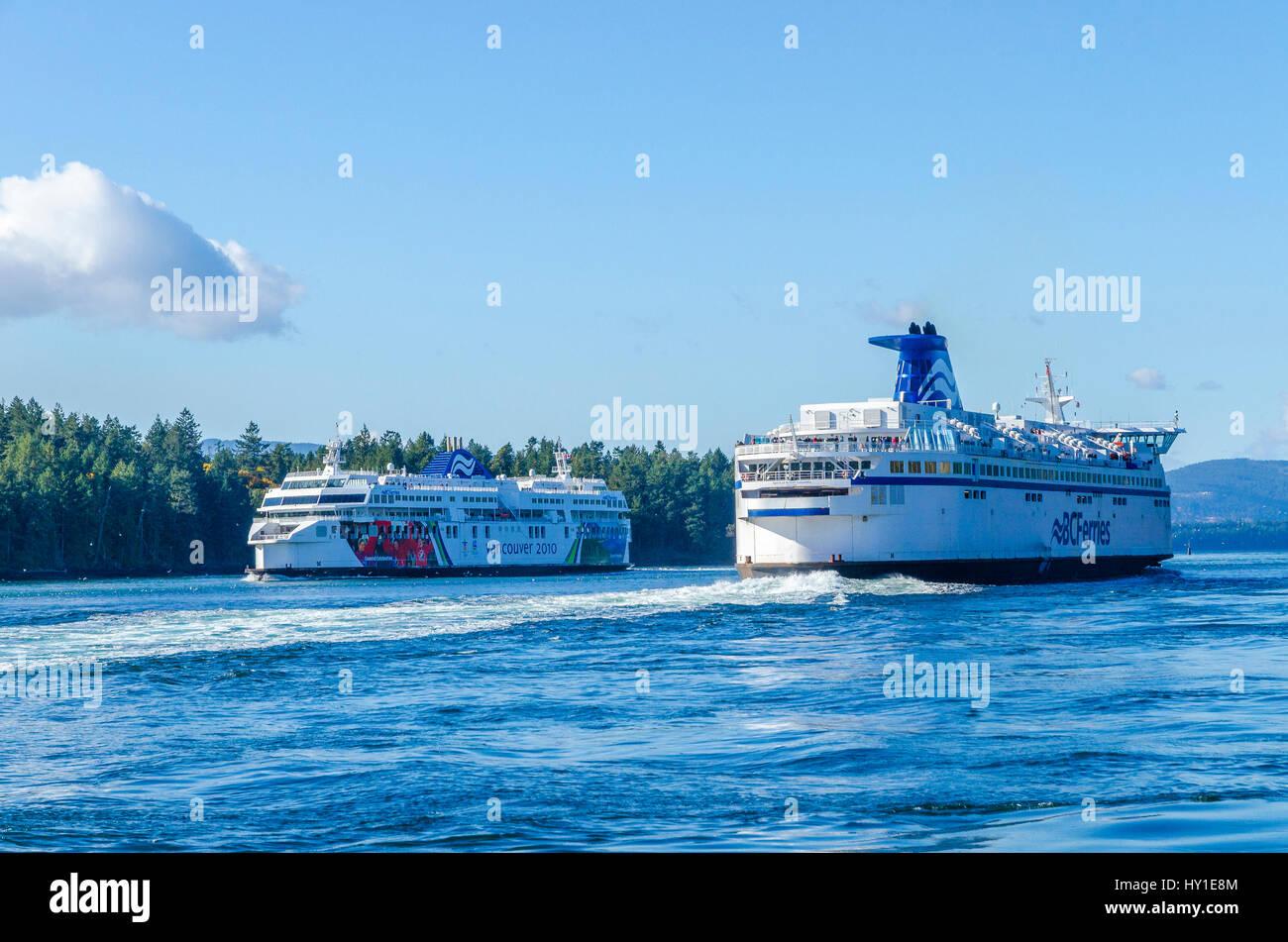 Bc Ferries in Active Pass near Galiano Island, British Columbia, Canada - Stock Image
