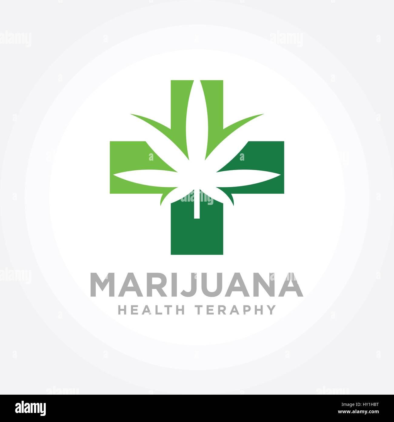 Cannabis Marijuana Health Therapy Logo Stock Vector Art
