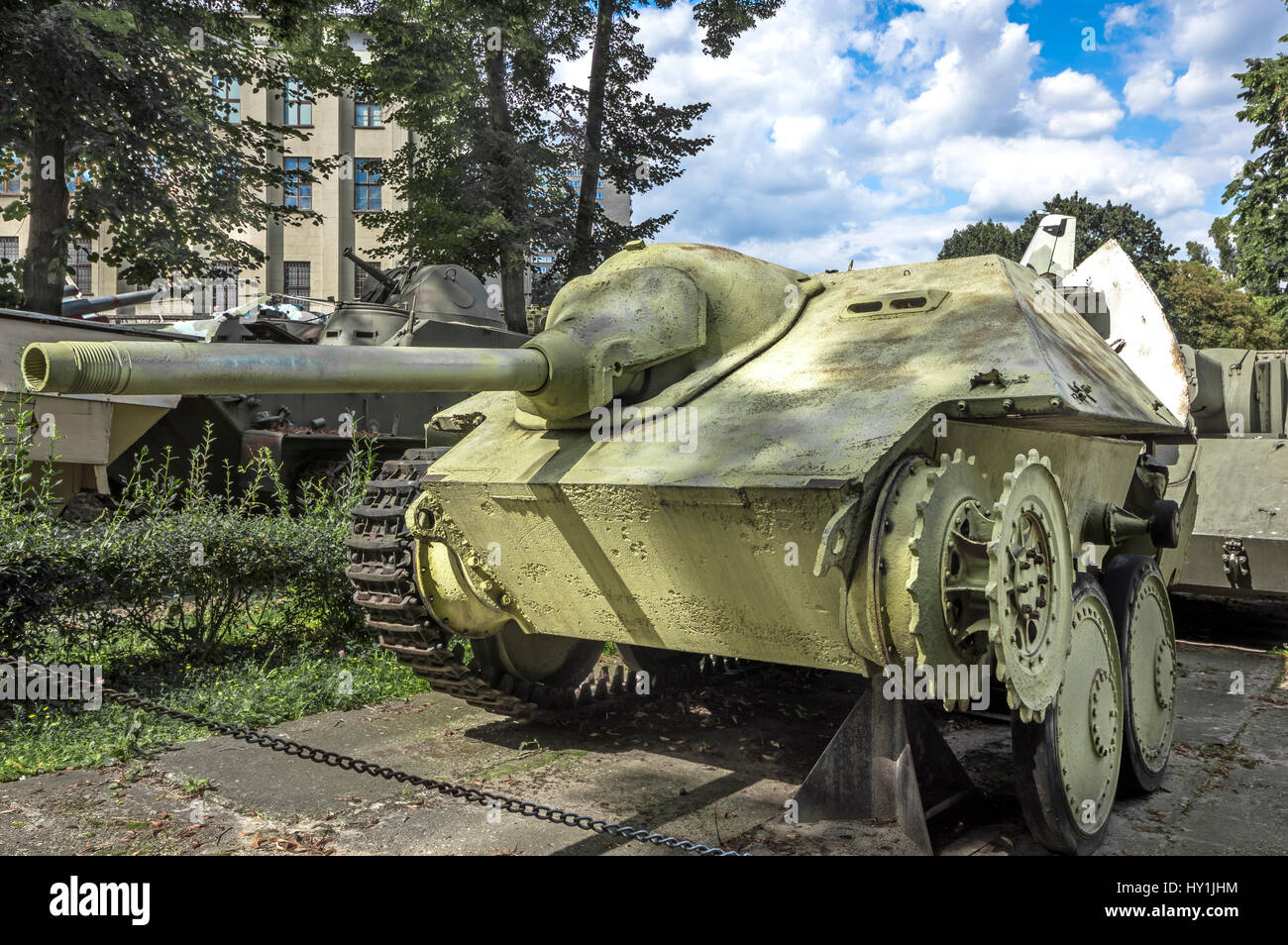 German motorized light tank destroyer Jagdpanzer 38 (T) or Sd.Kfz. 138/2 - Museum of the Polish Army, Warsaw, Poland - Stock Image