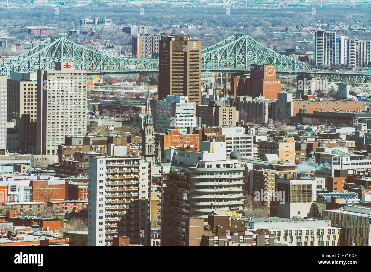 Montreal, CA - 30 March 2017: Ville-Marie disctrict and Jacques Cartier Bridge Stock Photo
