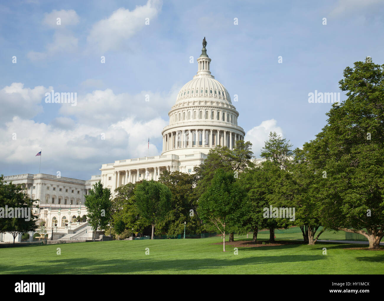 The US Capitol building in Washington DC gleams in the afternoon sun - Stock Image