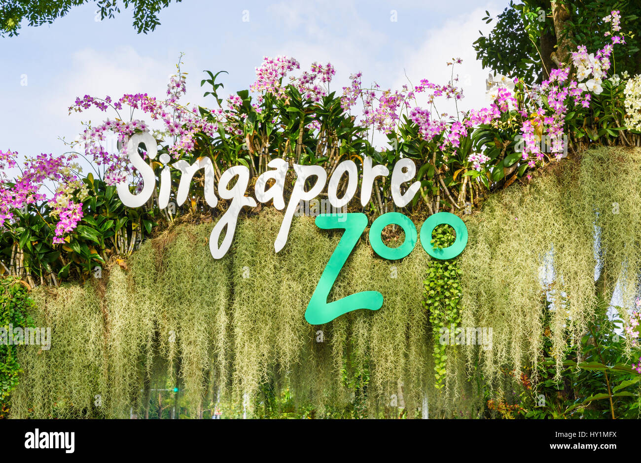 Singapore Zoo sign at the entrance gate to Singapore Zoo, Singapore - Stock Image