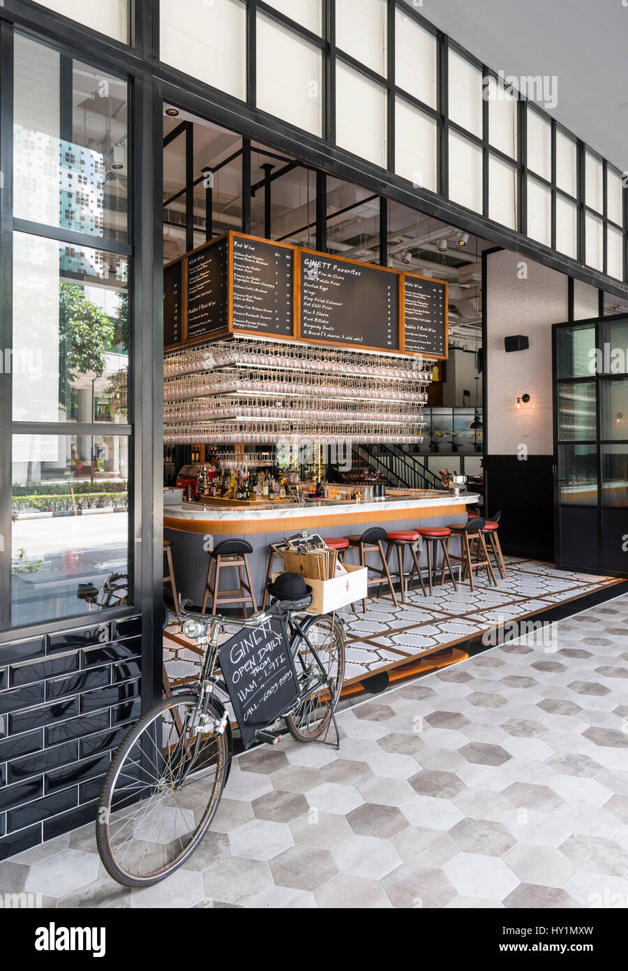 Ginett Restaurant and Wine Bar on the ground floor of Hotel G, Middle Rd, Singapore - Stock Image