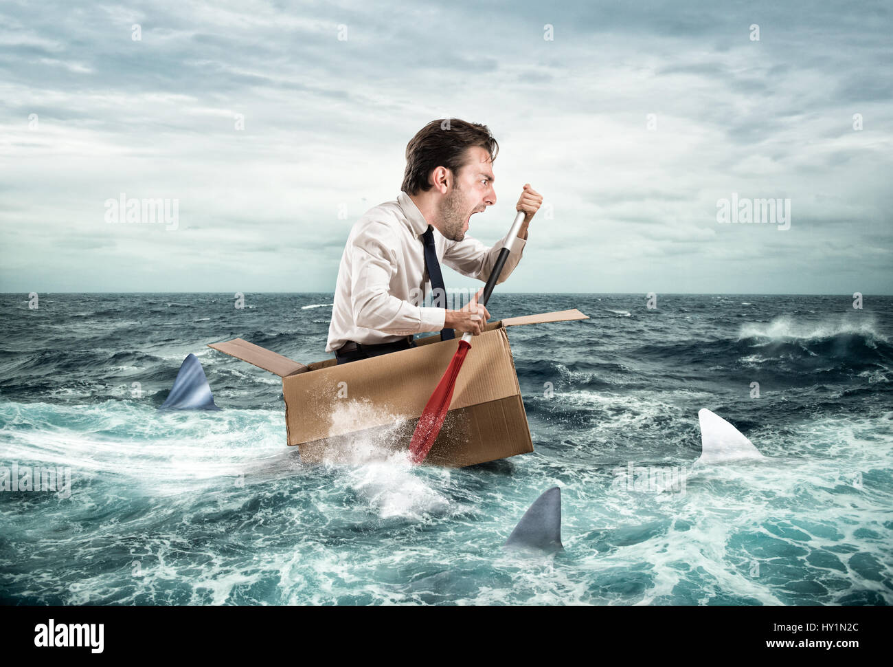 Escape from crisis. Funny face - Stock Image