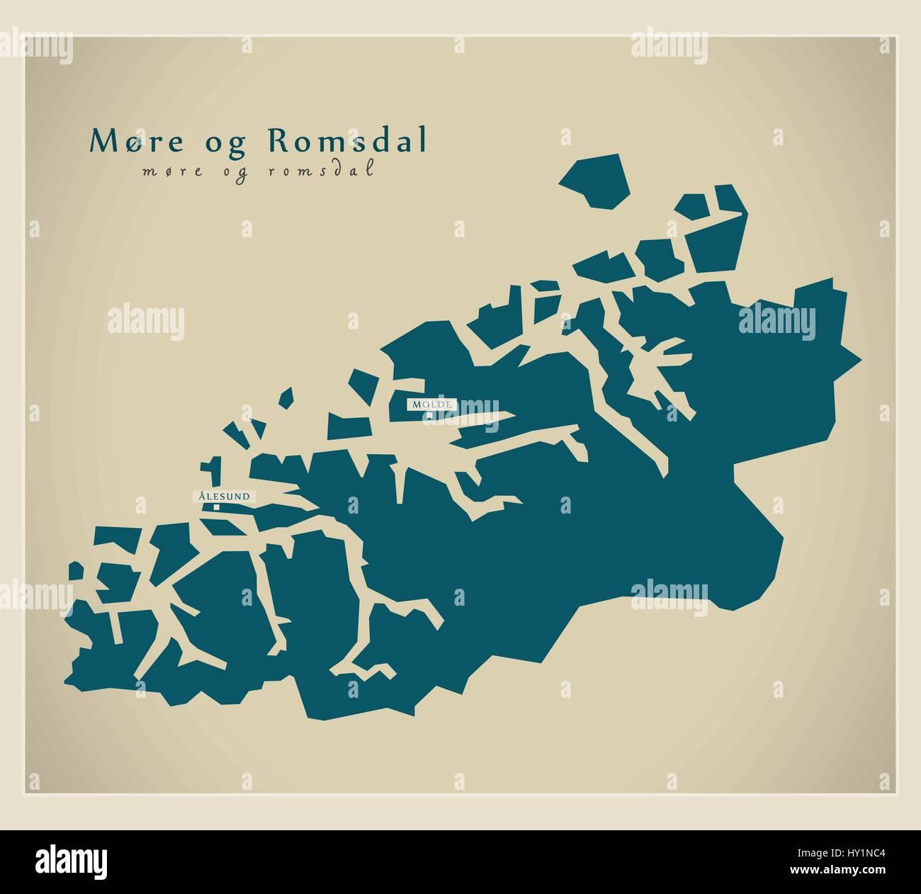 Modern Map - More og Romsdal NO - Stock Vector