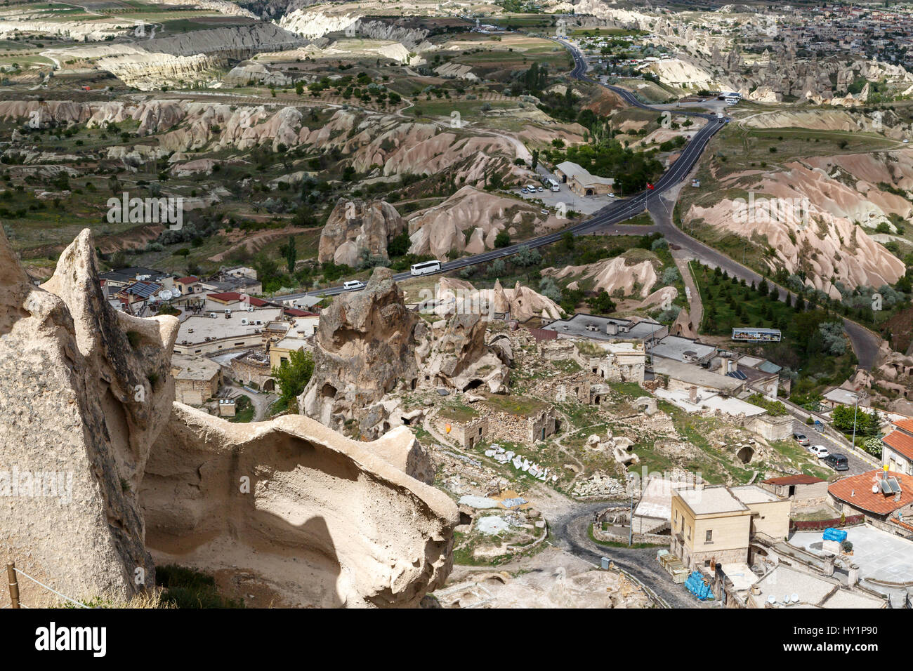 NEVSEHIR, TURKEY - MAY 7, 2016 : Cappadocia view from Uchisar Castle which is the highest building of the area. - Stock Image