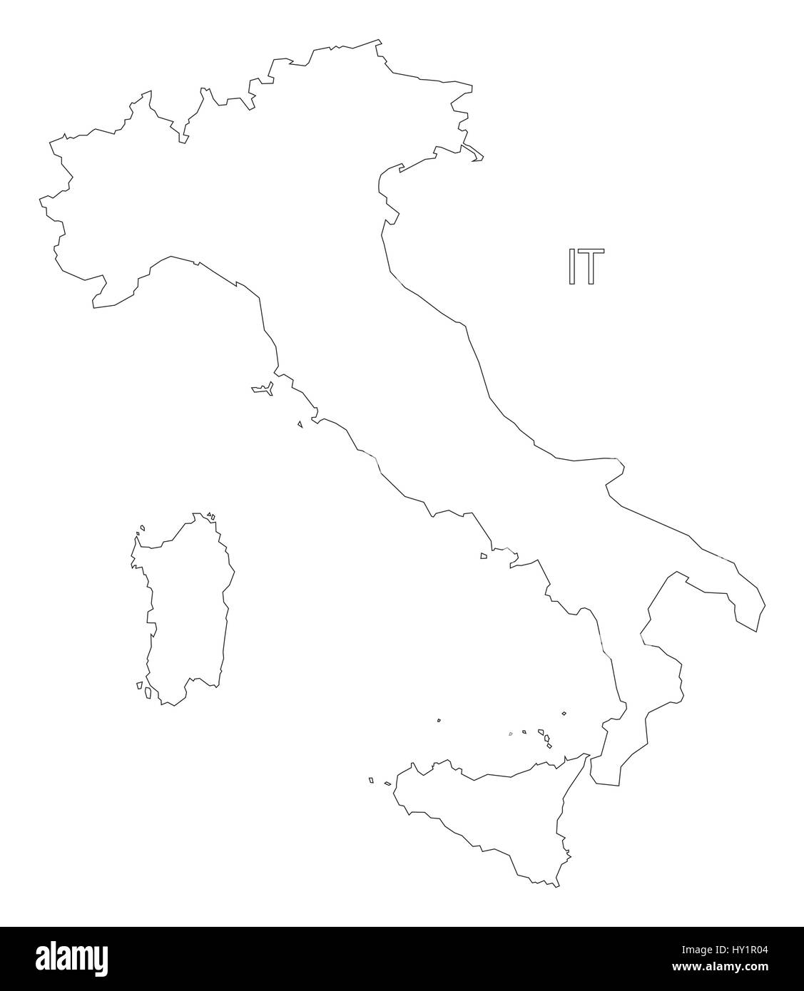 Map Of Italy Outline.Italy Outline Silhouette Map Illustration Stock Vector Art