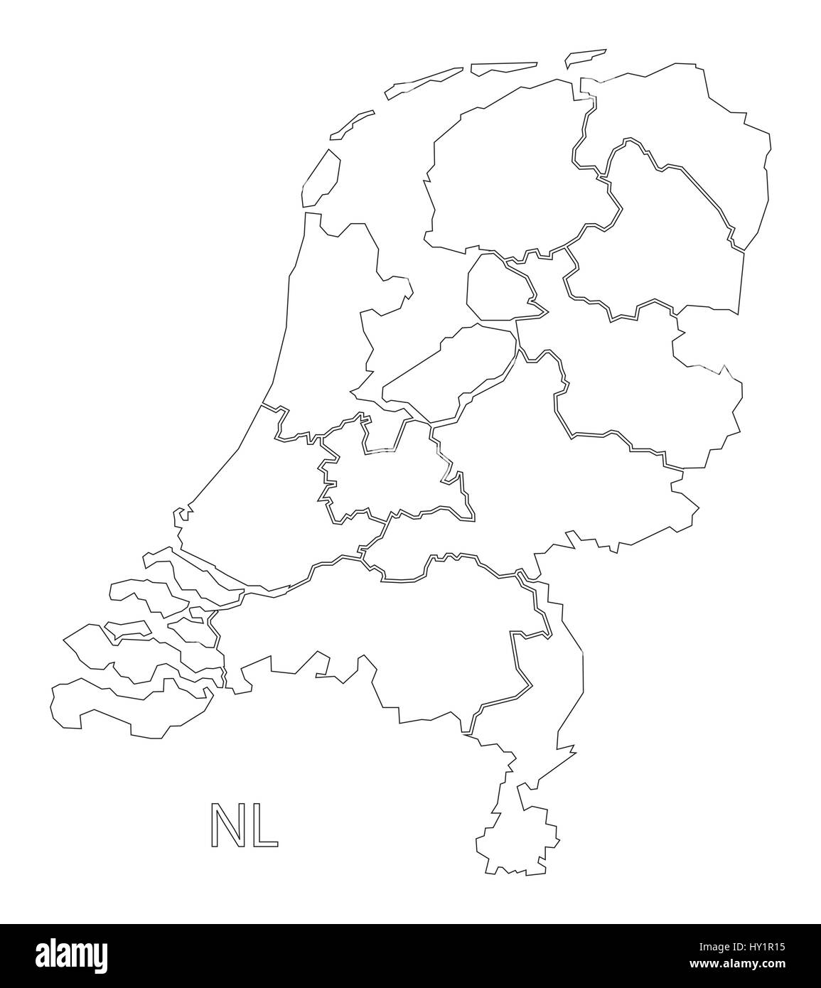 Netherlands outline silhouette map illustration with provinces Stock
