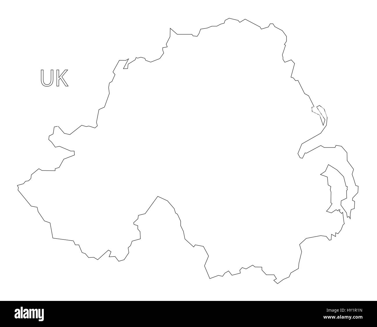 Outline Map Of Ireland.Northern Ireland Outline Silhouette Map Illustration Stock Vector